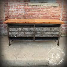 vintage industrial butcher block steel work table bench tool