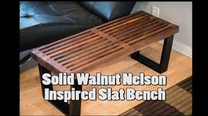 nelson inspired walnut slat bench youtube