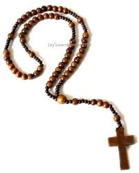 wooden rosary 41 wooden bead cross necklace mens iced out black wood rosary