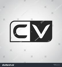 logo letter cv two different sides stock vector 485367010