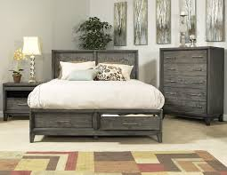 Modern Bedroom Furniture Sets Collection Ligna Soho 4 Panel Storage Bedroom Set In Gray Wash