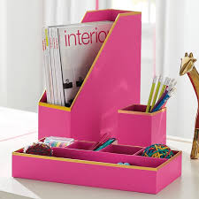 printed paper desk accessories set solid pink with gold trim pbteen