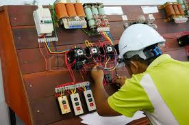contactor wiring work in motor control panel stock photo picture