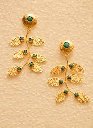 temple design gold earrings party wear designer golden earrings collection for women catalog