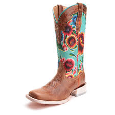 ariat womens cowboy boots size 12 brown and turquoise square toe floral boot by ariat