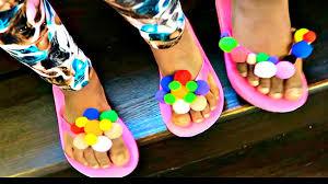 summer diy for kids pom pom sandals youtube