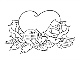 coloring pages with roses coloring pages roses and hearts wings printable with inside to print