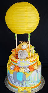 instead of diaper cake make a air ballon basket we did a