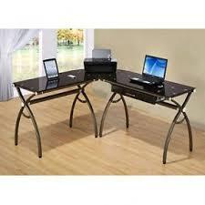 Glas Desk L Shaped Glass Desk With Drawers Foter