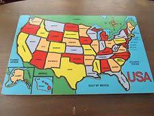 wooden usa map puzzle with states and capitals wooden map vintage puzzles ebay