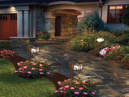 patio decor ideas front yard landscape pavestone lighting front