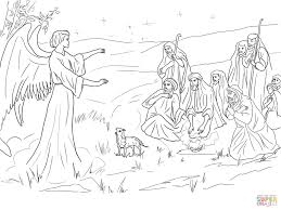 angel gabriel announcing the birth of christ to shepherds coloring