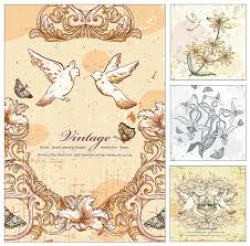 Invitation Cards Free Download Doves And Flowers Wedding Invitation Card Vector Free Download