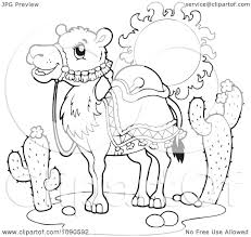 clipart coloring page outline of a saddled desert camel royalty