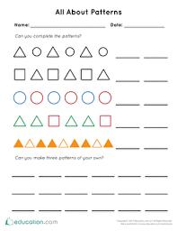 patterns worksheets u0026 free printables education com