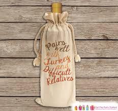 thanksgiving wine gift bag canvas wine bag wine
