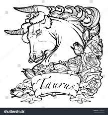 Astrology Sign Zodiac Sign Taurus Decorative Frame Roses Stock Vector 511886263