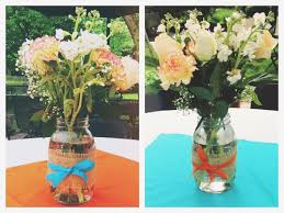 jar center pieces blue and orange graduation party centerpieces jars