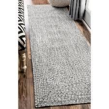 nuloom handmade casual solid braided runner grey indoor outdoor