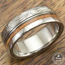 can titanium rings be engraved titanium ring with hawaiian koa wood inlay engraved