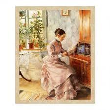 victorian woman at desk fridge magnet vintage illustration