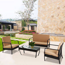 Wicker Patio Furniture Ebay Oliver Smith Large 4 Pc Modern Sead Table Sofa Bed Set Outdoor