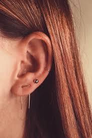 two earrings piecing earrings threader earrings staple anvil