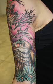 creepy owl tree half sleeve aloadofbs