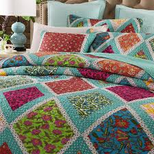 turquoise quilted coverlet com dada bedding cotton patchwork quilt fairy forest