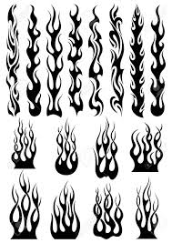 black tribal fire flames set for tattoo vinyl stickers and