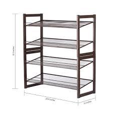 shoe organizer amazon com floureon 4 tier metal mesh utility shoe rack storage