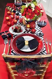 Valentines Day Tablescapes A Bold Red Tablecloth And Black And White Accessories Make For