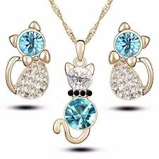earrings and things beautiful cat earrings and necklace set jewelry for