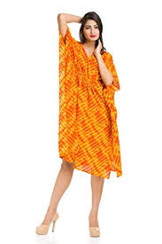 maternity nightwear handicraft palace orange lahariya printed cotton sleepwear kaftan