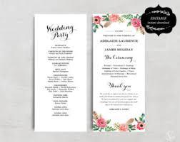 wedding programs diy templates diy wedding program etsy