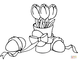 easter tulips and eggs coloring page free printable coloring pages