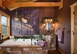 log cabin interior design bathroom with silk pines and antler wall