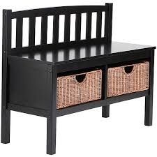 lincoln bench with storage baskets black walmart com