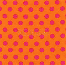 high resolution orange fabric pink polka dots texture and