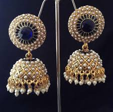 jhumka earrings online shopping buy indian vintage jewellery blue golden pearl brass jhumka