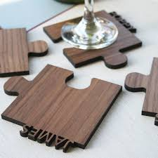 jigsaw wood set of four personalised cut out wooden jigsaw coasters by wood