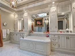 Traditional Master Bathroom With Handheld Shower Head  Flat Panel - White cabinets master bathroom