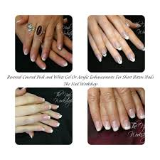 reversed covered pink and white acrylic and gel enhancements for