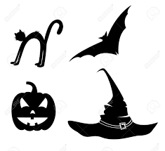 collection for halloween bat pumpkin hat and cat royalty free