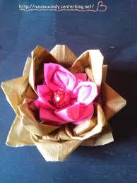 pliage de serviette en papier 2 couleurs feuille pliage de serviette fleur de lotus