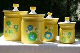 Designer Kitchen Canister Sets by Kitchen Canister Set Of 4 Yellow With Flower Designs