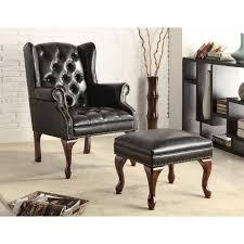 Chair W Ottoman Black Vinyl Button Tufted Wing Chair W Ottoman Chairs Seat N