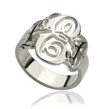 monogram rings sterling silver customized vine monogram ring sterling silver monogrammed initials