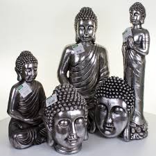 jmart metallic silver ornamental buddhas