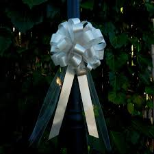 Wedding Pew Decorations 10 Silver Gray Pull Bows Tulle Tails Wedding Pew Decorations
